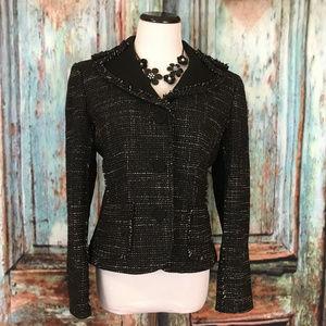 Ann Taylor Black White Tweed Wool Blazer 10P